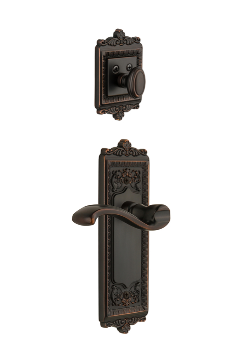 Grandeur Windsor Handleset with Portofino Lever - (Interior Half Only, with Deadbolt)