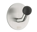 Beslagsboden Design Single Hook - Brushed Stainless Steel / Black Knob