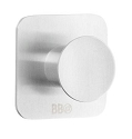 Beslagsboden Design Steel Single Squared Base Round Self-Adhesive Hook - Brushed Stainless Steel
