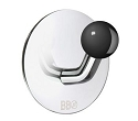 Beslagsboden Design Single Hook - Polished Stainless Steel / Black Knob