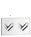 Beslagsboden Design Self-Adhesive Rectangular Base Double Hook - Polished Stainless Steel