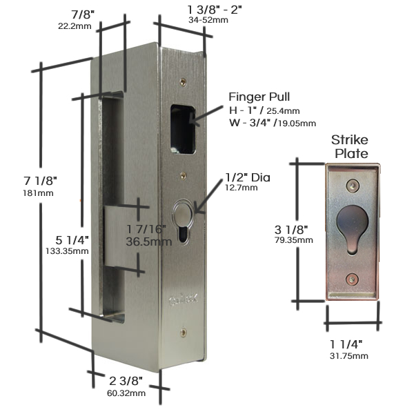CL400 Privacy Pocket Door Lock Measurements