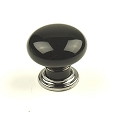 Century Nordic 1 3/8 Inch Cabinet Knob in Polished Chrome & Black
