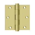Deltana 3 1/2 x 3 1/2 Inch Solid Brass Square Corner Hinge - Pair
