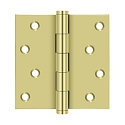 Deltana 4 x 4 Inch Solid Brass Square Corner Residential, Zig-zag Hole Pattern Hinge - Pair