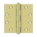 Deltana 4 1/2 x 4 1/2 Inch Solid Brass Square Corners Standard Hinge - Pair