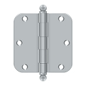 Deltana 3 1/2 x 3 1/2 Inch 5/8 Inch Radius Corner with Ball Tips Steel Hinge - Pair