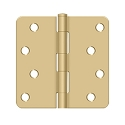 Deltana 4 x 4 Inch 1/4 Inch Radius Corner Bench Mark, Security Steel Hinge - Pair