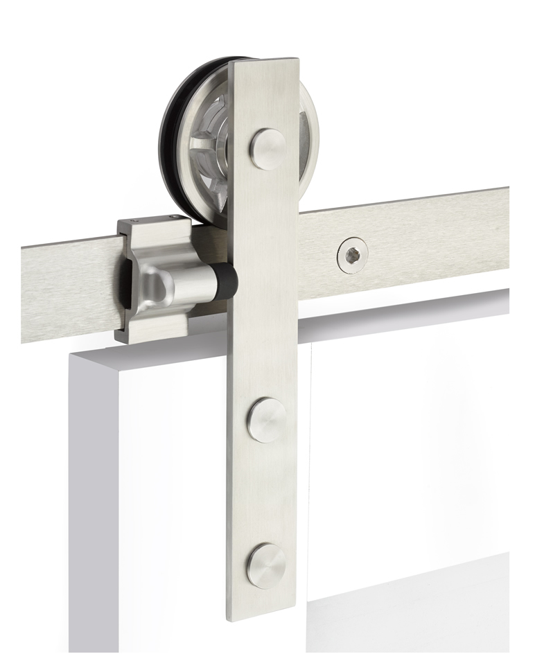Emtek Modern Rectangular Face Mount Barn Door Kit - Stainless Steel