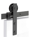 Emtek Modern Rectangular Face Mount Barn Door Kit - Flat Black