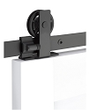 Emtek Modern Rectangular Top Mount Barn Door Kit - Flat Black