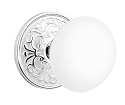 Emtek Ice White Knob with Lancaster Rosette