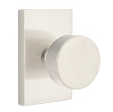 Emtek Modern Round Door Knob with Modern Rectangular Rosette