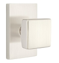 Emtek Square Modern Door Knob with Modern Rectangular Rosette