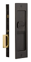 Emtek Sandcast Bronze Rustic Modern Rectangular Pocket Door Mortise Lock