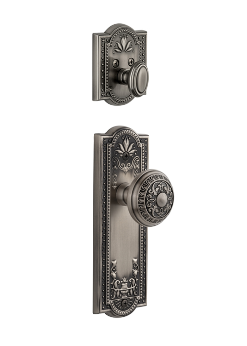 Grandeur Parthenon Handleset with Windsor Knob - (Interior Half Only, with Deadbolt)