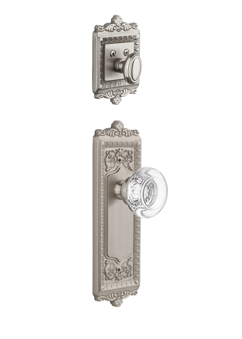 Grandeur Windsor Handleset with Bordeaux Knob - (Interior Half Only, with Deadbolt)