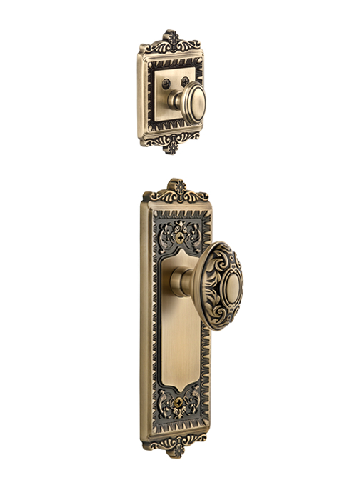 Grandeur Windsor Handleset with Grande Victorian Knob - (Interior Half Only, with Deadbolt)