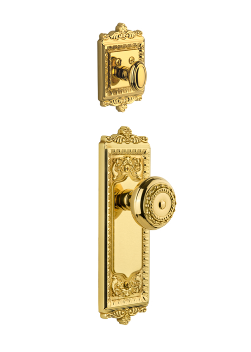 Grandeur Windsor Handleset with Parthenon Knob - (Interior Half Only, with Deadbolt)