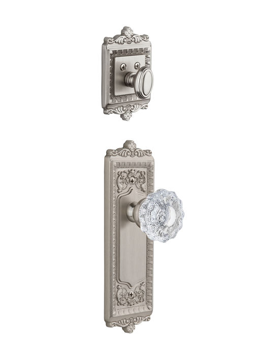 Grandeur Windsor Handleset with Versailles Knob - (Interior Half Only, with Deadbolt)