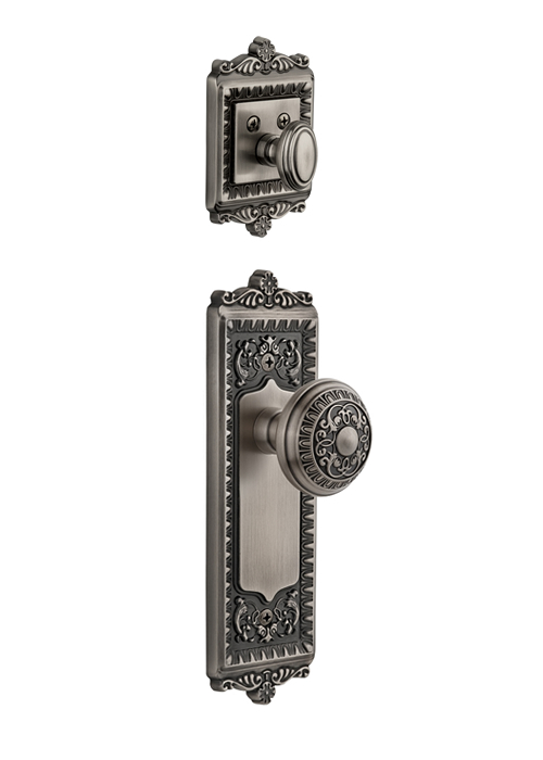 Grandeur Windsor Handleset with Windsor Knob - (Interior Half Only, with Deadbolt)