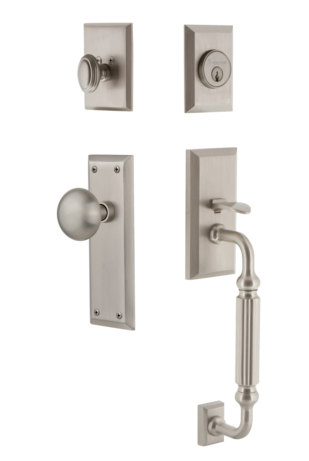 Grandeur Fifth Avenue Handleset With F Grip And Fifth Avenue Interior Plates Multiple Knob And Lever Choices Direct Door Hardware