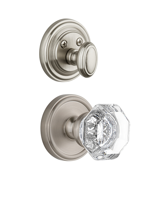 Grandeur Georgetown Handleset with Chambord Knob - (Interior Half Only, with Deadbolt)