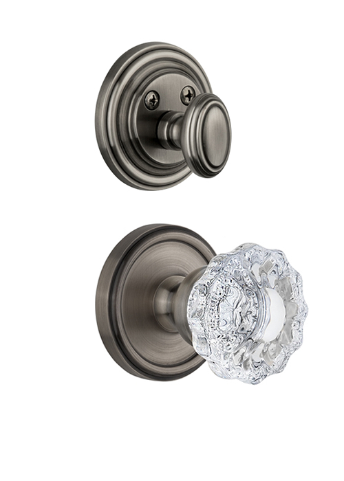 Grandeur Georgetown Handleset with Versailles Knob - (Interior Half Only, with Deadbolt)