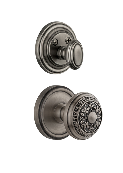 Grandeur Georgetown Handleset with Windsor Knob - (Interior Half Only, with Deadbolt)