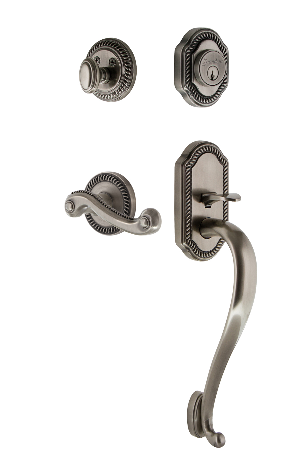 Grandeur Newport Handleset with S Grip and Newport Interior Plates