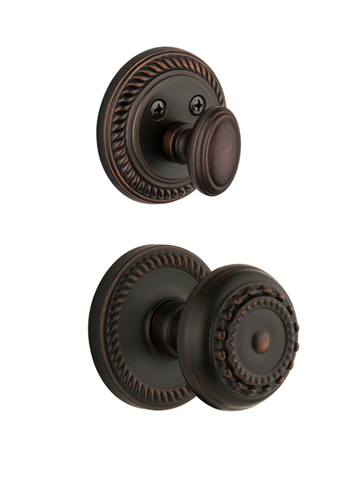 Grandeur Newport Handleset with Parthenon Knob - (Interior Half Only, with Deadbolt)