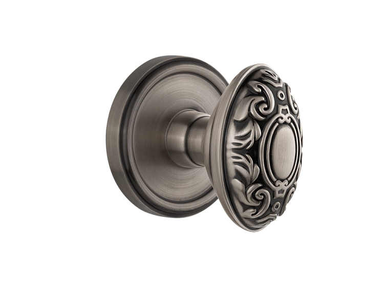 Grandeur Georgetown Handleset with Grande Victorian Knob - (Interior Half Only, with Deadbolt)