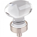 Hardware Resources Harlow 1-1/4 Inch Glass Oval Cabinet Knob - Satin Nickel