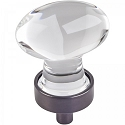 Hardware Resources Harlow 1-1/4 Inch Glass Oval Cabinet Knob - Brushed Oil-Rubbed Bronze