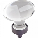 Hardware Resources Harlow 1-5/8 Inch Glass Oval Cabinet Knob - Brushed Oil-Rubbed Bronze