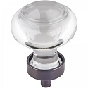 Hardware Resources Harlow 1-7/16 Inch Glass Button Cabinet Knob - Brushed Oil-Rubbed Bronze