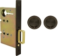 Inox PD8010 Mortise Pocket Door Passage w/ Lockcase, FH22 Round Flush Pull