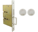 Inox PD8115 Mortise Pocket Door Passage w/ Lockcase as Dust Proof Strike, FH22 Round Flush Pull