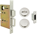 Inox PD8460 Mortise Pocket Door Patio Lockset, FH22 Round Flush Pull