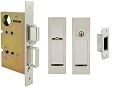Inox PD8450 Mortise Pocket Door Entry Lockset, FH27 Linear Flush Pull