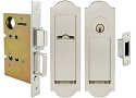Inox PD8450 Mortise Pocket Door Entry Lockset, FH31 Regal Flush Pull