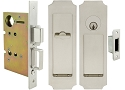 Inox PD8450 Mortise Pocket Door Entry Lockset, FH32 Crown Flush Pull