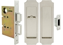 Inox PD8460 Mortise Pocket Door Patio Lockset, FH32 Crown Flush Pull