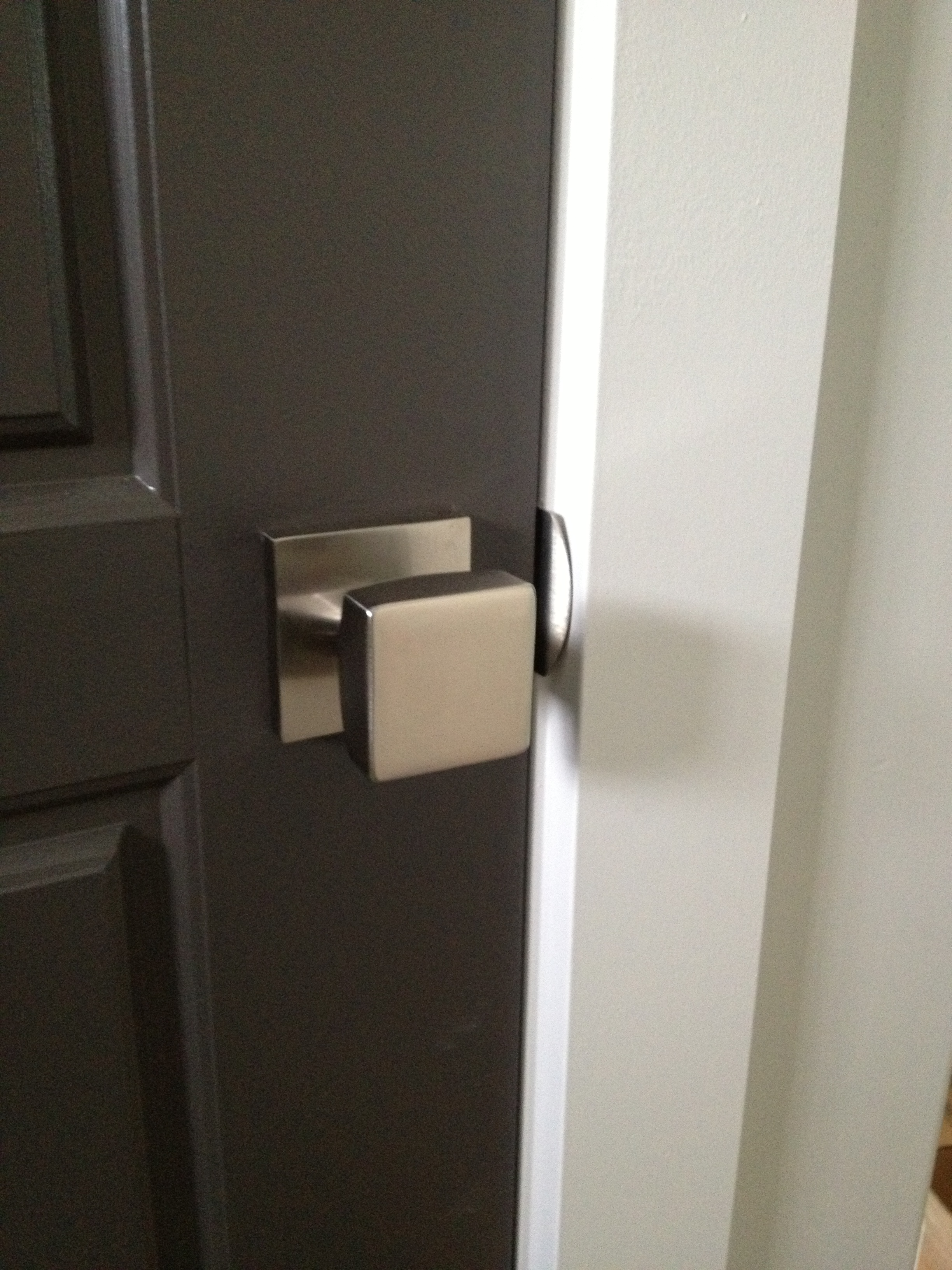 Installation Of Your Emtek Square Modern Door Knob With Square Rosette  Complete.