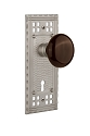 Nostalgic Warehouse Craftsman Plate and Brown Porcelain Knob - Mortise Lock