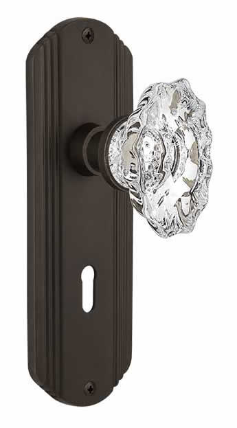 Nostalgic Warehouse Victorian Plate with Keyhole Chateau Knob Mortise Unlacquered Brass