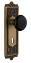 Nostalgic Warehouse Egg & Dart Plate with Black Porcelain Knob - Mortise Lock