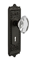 Nostalgic Warehouse Egg & Dart Plate with Oval Crystal Knob - Mortise Lock