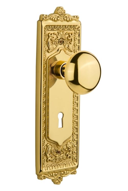 Nostalgic Warehouse Egg and Dart Plate with New York Knob - Mortise Lock