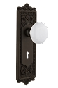 Nostalgic Warehouse Egg and Dart Plate with Porcelain Knob - Mortise Lock